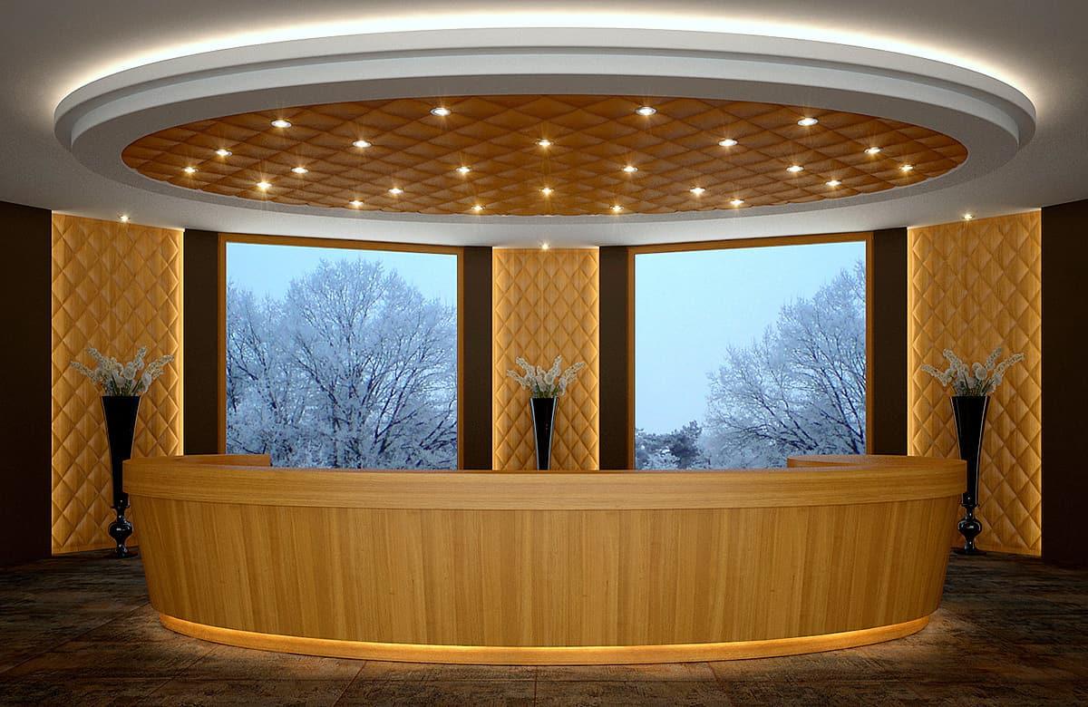 3d fa recepciós felülvilágító és falpanelek