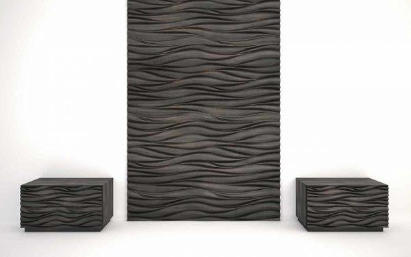 3d fa panel, hullámminta füstölt feketetölgy kifutó
